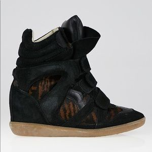 ISABEL MARANT Black Suede Tiger Striped Pony Hair
